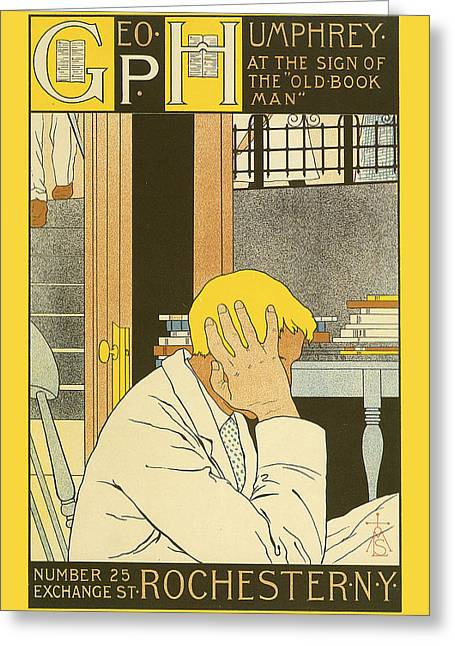 Playbill Greeting Cards - At the Sign of the Old Book Man Greeting Card by M Louise Stowell