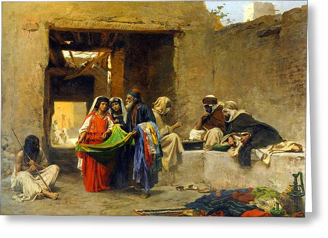 Orientalists Photographs Greeting Cards - At the Souk Greeting Card by Munir Alawi