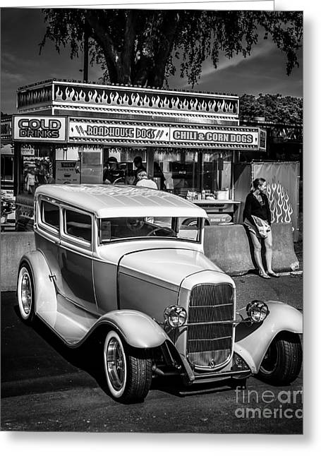 Orange Car Greeting Cards - At the Stand Greeting Card by Perry Webster