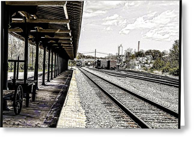 Five Level Greeting Cards - At The Station Greeting Card by Mike Waddell