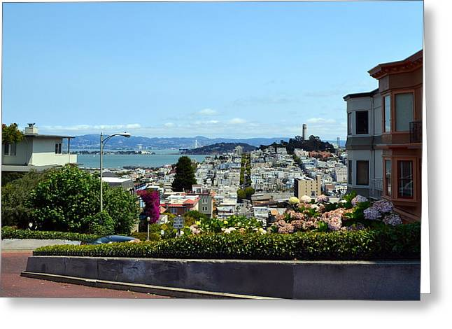 Flower Curves Greeting Cards - At the Top - Lombard Street Greeting Card by Michelle Calkins