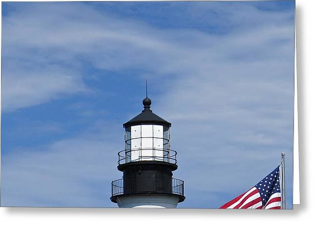 Maine Lighthouses Greeting Cards - At The Top Greeting Card by Nancy Patterson