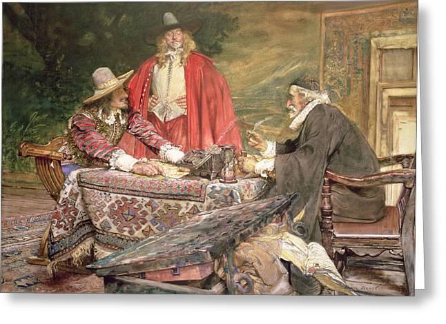 Gentleman Greeting Cards - At The Usurers Greeting Card by Edgar Bundy