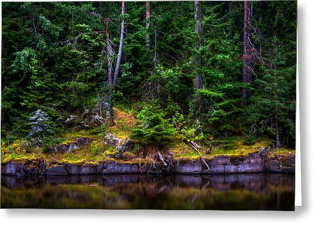 Mystic Art Greeting Cards - At the Water Edge. Island Valaam Greeting Card by Jenny Rainbow