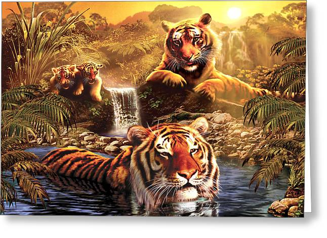Jungle Animals Greeting Cards - At the Waterhole Greeting Card by Andrew Farley