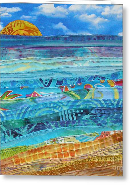 Print Tapestries - Textiles Greeting Cards - At the Waters Edge Greeting Card by Susan Rienzo
