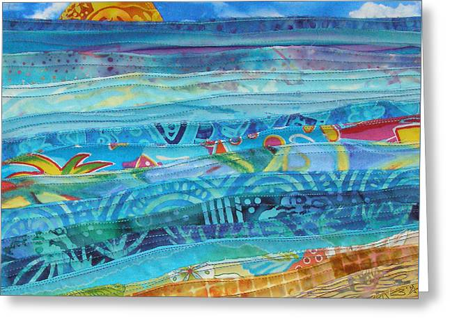Wave Tapestries - Textiles Greeting Cards - At the Waters Edge Greeting Card by Susan Rienzo