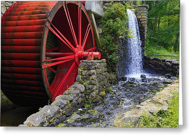 Wayside Inn Greeting Cards - At the Wayside Inn Gristmill Greeting Card by John Hoey