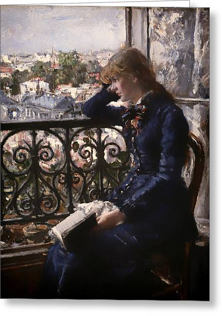 Pondering Paintings Greeting Cards - At the Window Greeting Card by Hans Heyerdahl