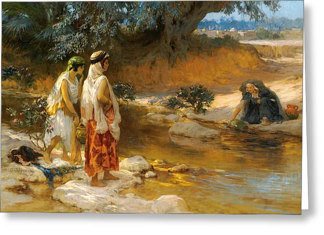 Frederick Greeting Cards - At Waters Edge Greeting Card by Frederick Arthur Bridgman