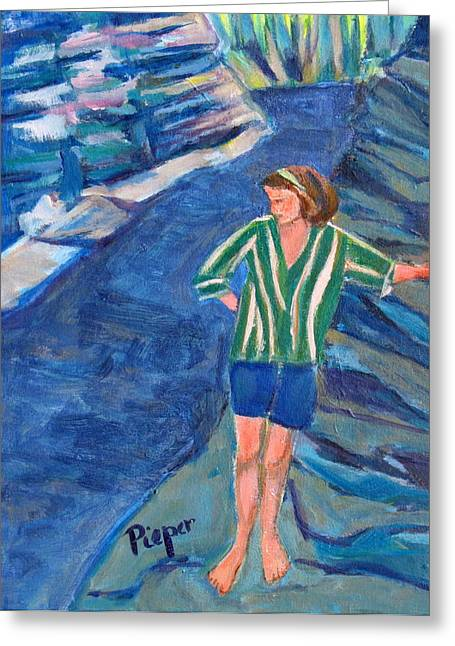 Striped Blouse Greeting Cards - At Wintergreen Park Canajoharie 1957 Greeting Card by Betty Pieper