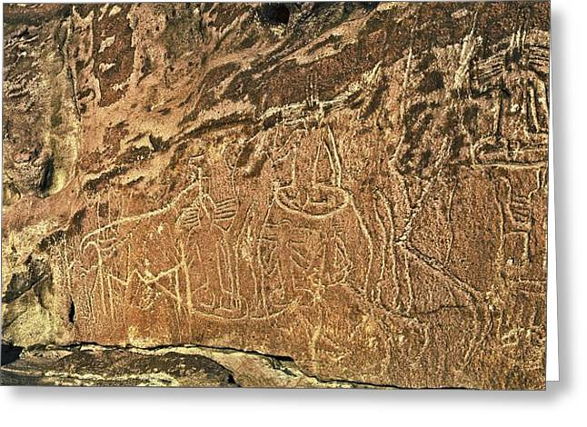 Anthropological Art Greeting Cards - Atacama petroglyphs, Chile Greeting Card by Science Photo Library