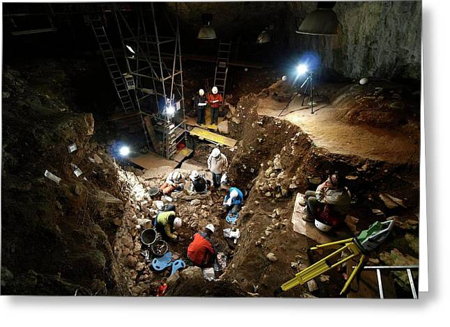 Atapuerca Fossil Excavation Greeting Card by Javier Trueba/msf