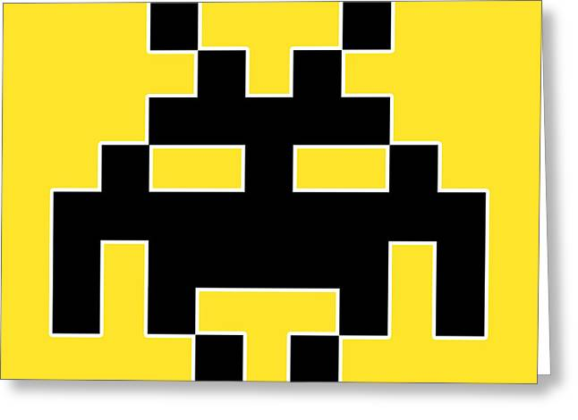 Invaders Greeting Cards - Atari Greeting Card by D Plinth