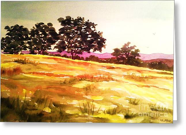 Atascadero Greeting Cards - Atascadero Gold Greeting Card by Suzanne McKay