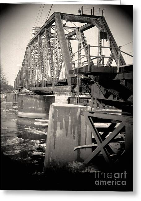 """post Civil War"" Greeting Cards - Atchison Railroad Bridge Greeting Card by C E Dyer"