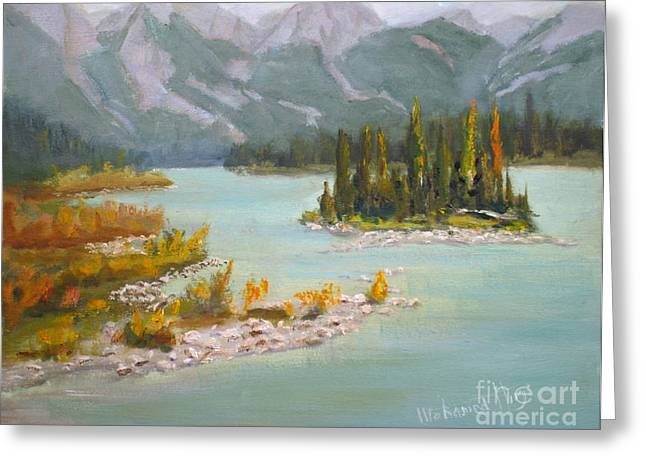 Alberta Water Falls Greeting Cards - Athabasca River  Jasper Greeting Card by Mohamed Hirji