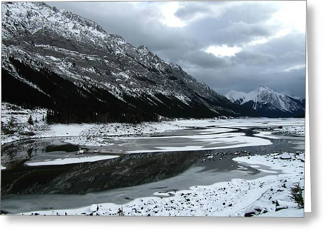 Light Grey Greeting Cards - Maligne Valley Journey Greeting Card by Shirley Sirois