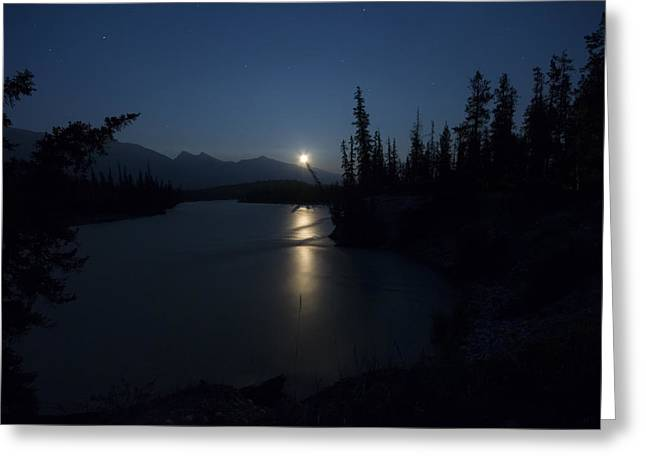 Athabasca River Moonrise Greeting Card by Cale Best