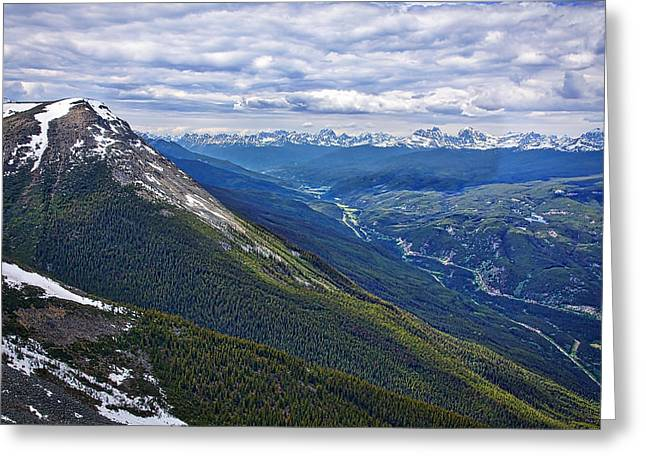 Snow Capped Greeting Cards - Athabasca River Valley - Jasper Greeting Card by Stuart Litoff