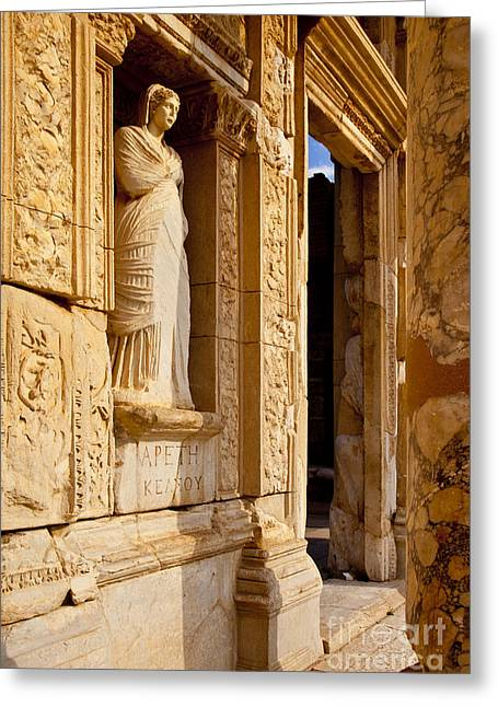 Library Of Celsus Greeting Cards - Athena at Ephesus Greeting Card by Brian Jannsen