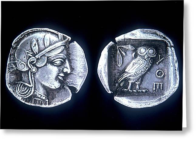 Athena Owl Coin Greeting Card by Andonis Katanos