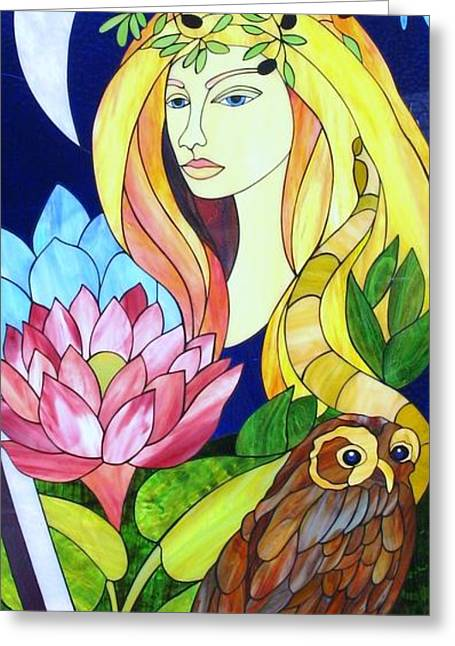 Woman Glass Art Greeting Cards - Athena Greeting Card by Suzanne Tremblay