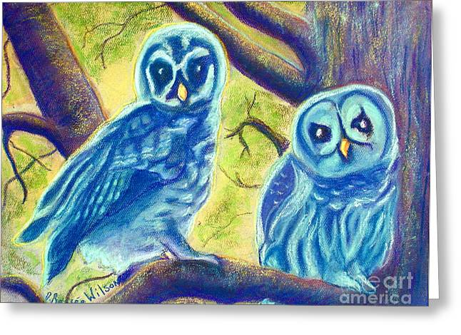 Mythology Pastels Greeting Cards - Athenas Owlets Greeting Card by D Renee Wilson