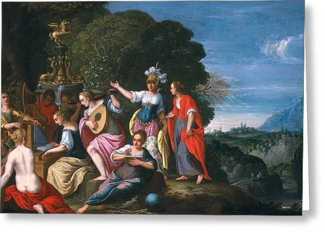 Athena Greeting Cards - Athene And The Nine Muses At The Wells Of Hipokrene, 1624 Oil On Copper Greeting Card by Johann or Hans Konig