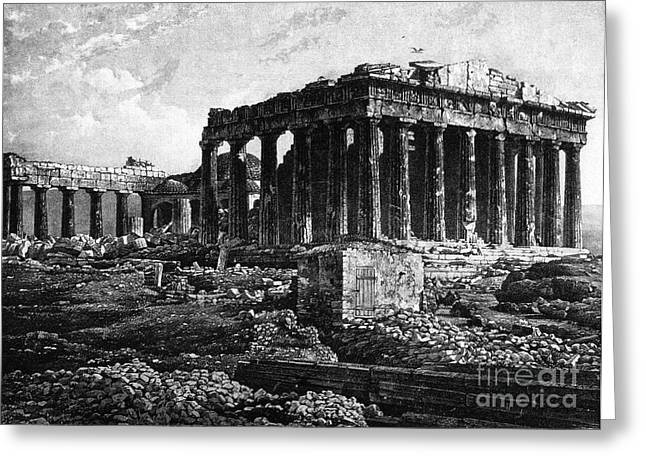 Temple Of Athena Greeting Cards - Athenian Acropolis, Parthenon, 1841 Greeting Card by Science Source