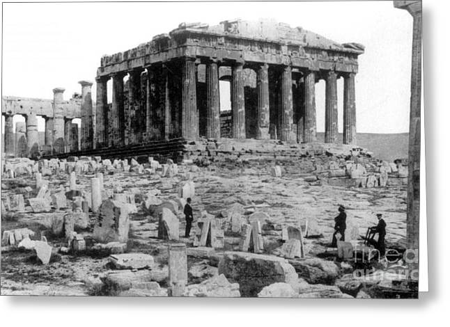 Temple Of Athena Greeting Cards - Athenian Acropolis, Parthenon, 1910 Greeting Card by Science Source