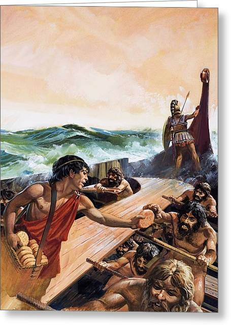 Spartan Greeting Cards - Athenian Trireme Greeting Card by Andrew Howat