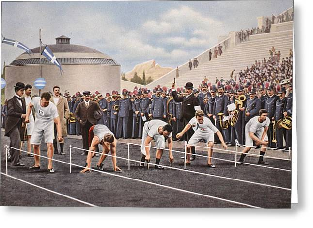 Runner Greeting Cards - Athens 1896 Various Start Positions Greeting Card by .