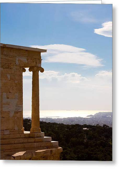 Athens Ruins Greeting Cards - Athens and the Sea from the Acropolis Greeting Card by Anthony Doudt