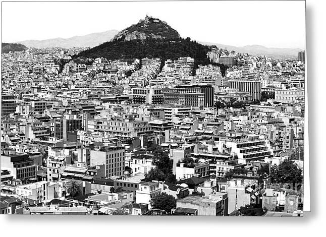 Greek School Of Art Greeting Cards - Athens City View in black and white Greeting Card by John Rizzuto