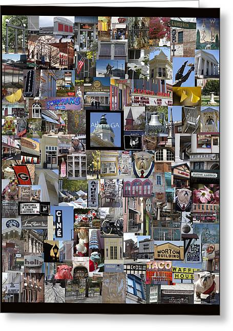 Georgia Bulldog Greeting Cards - Athens Collage Greeting Card by Sally Ross