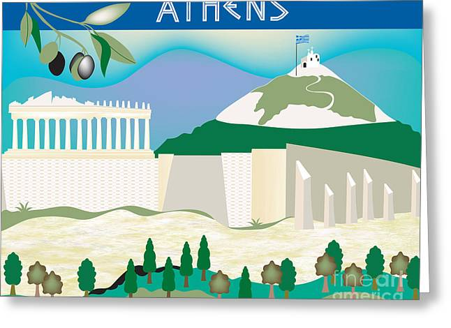 Athens Greeting Cards - Athens Greeting Card by Karen Young