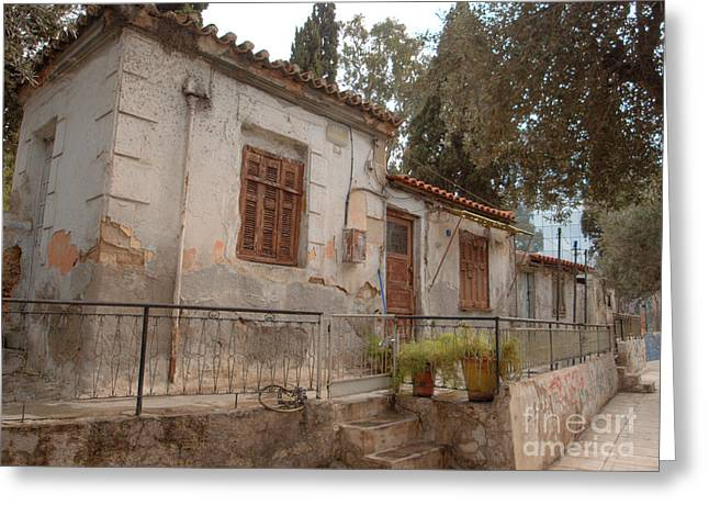 Nike Photographs Greeting Cards - Athens Street Ruin Greeting Card by Deborah Smolinske