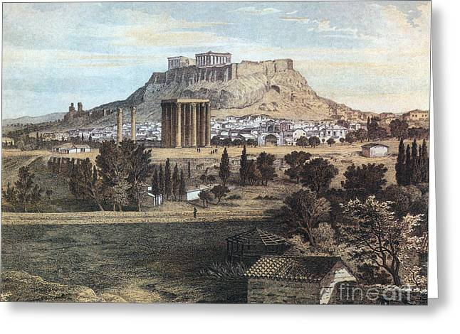 Temple Of Athena Greeting Cards - Athens With The Acropolis Greeting Card by Photo Researchers