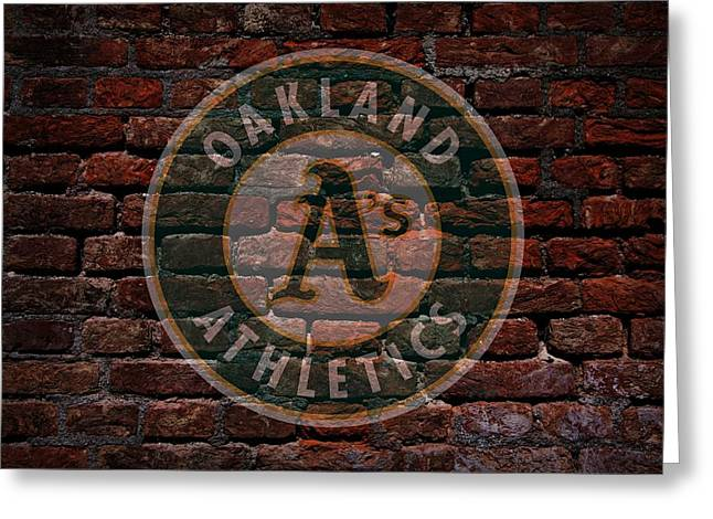 Centerfield Greeting Cards - Athletics Baseball Graffiti on Brick  Greeting Card by Movie Poster Prints