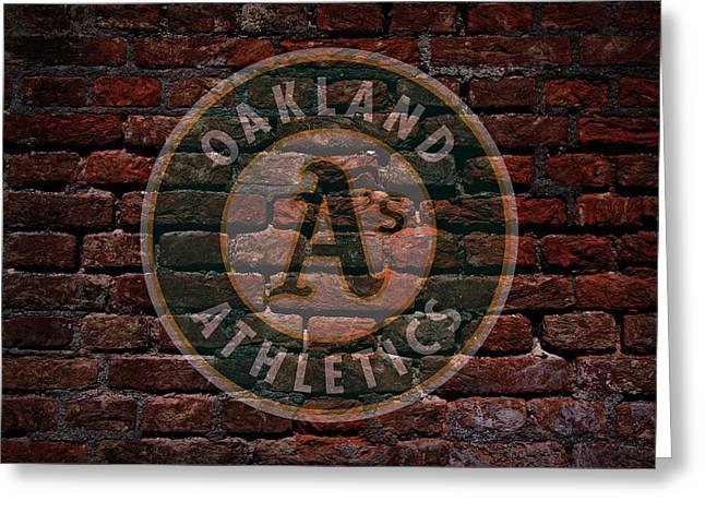 Baseball Art Greeting Cards - Athletics Baseball Graffiti on Brick  Greeting Card by Movie Poster Prints