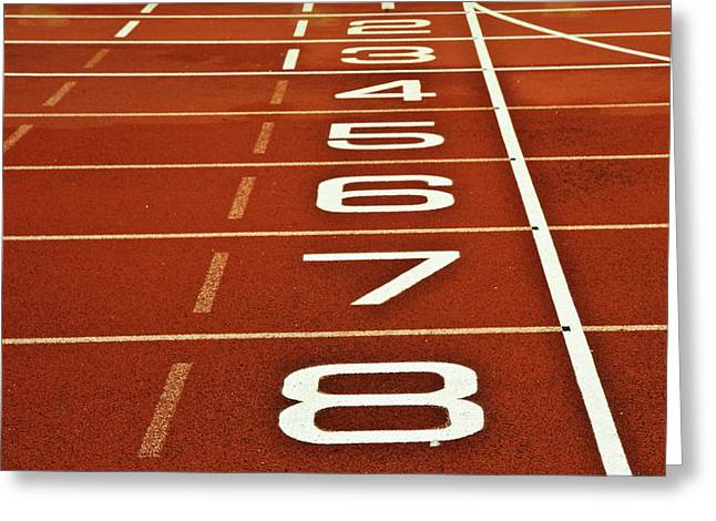Athletics Running Track Start Finish Line Greeting Card by Matthew Gibson