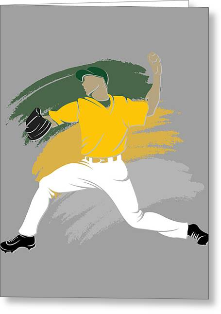 Oakland Athletics Greeting Cards - Athletics Shadow Player Greeting Card by Joe Hamilton