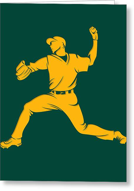 Baseball Art Photographs Greeting Cards - Athletics Shadow Player1 Greeting Card by Joe Hamilton