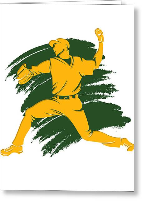 Baseball Art Photographs Greeting Cards - Athletics Shadow Player2 Greeting Card by Joe Hamilton