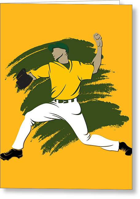 Baseball Art Photographs Greeting Cards - Athletics Shadow Player3 Greeting Card by Joe Hamilton