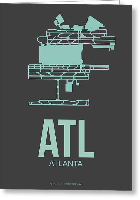 Town Mixed Media Greeting Cards - ATL Atlanta Airport Poster 2 Greeting Card by Naxart Studio