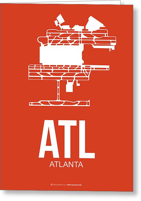 Town Mixed Media Greeting Cards - ATL Atlanta Airport Poster 3 Greeting Card by Naxart Studio