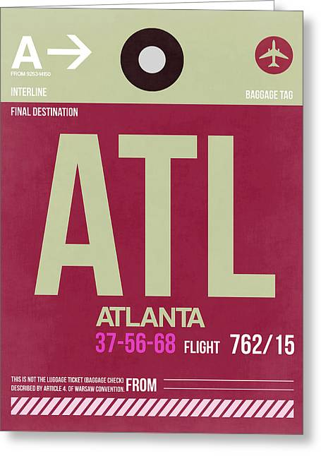 Tourists Greeting Cards - Atlanta Airport Poster 2 Greeting Card by Naxart Studio