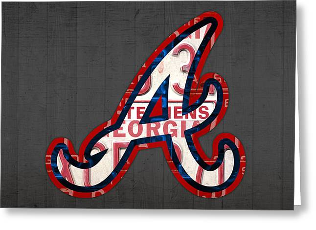 Brave Mixed Media Greeting Cards - Atlanta Braves Baseball Team Vintage Logo Recycled Georgia License Plate Art Greeting Card by Design Turnpike
